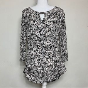 Vince Camuto Static Print Keyhole Career Top Sz L